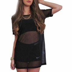 Sheer Mesh Tshirt Black Tumblr Fashion Oversized Mesh Mini