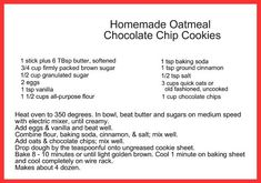 Make this delicious homemade Oatmeal Chocolate Chip cookie recipe and give them as gifts for the holiday, or for holiday cookie exchange. Chocolate Chip Cookies Recipe From Scratch, Cookie Recipes From Scratch, Oatmeal Chocolate Chip Cookies, Chocolate Chips, Biscuits, Homemade Oatmeal, No Bake Treats, Sweet Recipes, Healthy Recipes