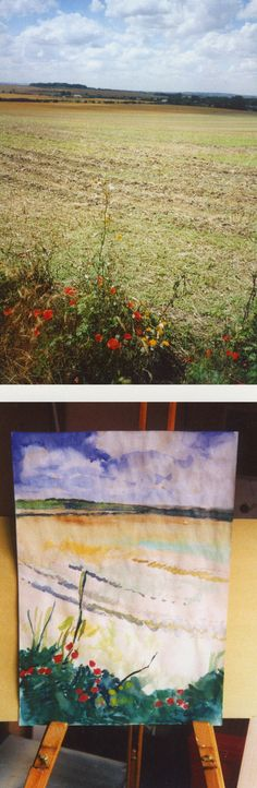 Poppies & field -  with photo 2002-3