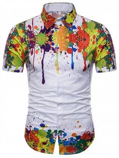 YaYu Men Printed Button Short Sleeve Ink Printed Novelty Trend Shirt