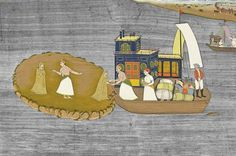 A Steamboat Ride on a Lake, a lady steps onto a #steamboat aided by a prince, Jaipur, Rajasthan, mid-19th century. Per Jamal Jafri's Twitter.