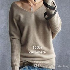 Women fashion sexy v-neck sweater loose 100% cashmere wool sweater batwing sleeve plus size pullover - Loluxe - 1