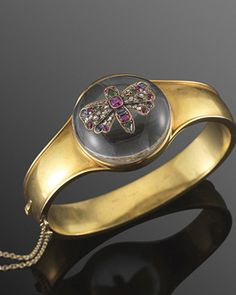 Victorian 14K Yellow Gold Jeweled Inlay Rock Crystal Butterfly Dome Bangle Bracelet. Superb Execution.