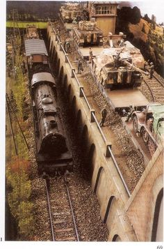 WWII locomotive, train, and bridge
