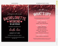 Bachelorette Party Weekend in Vegas Invitation in Sparkly Black and Pink - Give the itinerary to the guests beforehand too to get them excited!