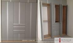 Compartimos una foto de un closet con puertas que terminamos de instalar en la Ciudad de México....! Creamos espacios confortables y ordenados para nuestros clientes....!