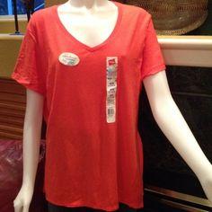Comfortable v-neck tee shirt Great coral color short sleeve tee. Never worn! Hanes Tops Tees - Short Sleeve