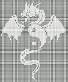ePier - New Filet Crochet Pattern/Afghan - Dragon Ying and Yang