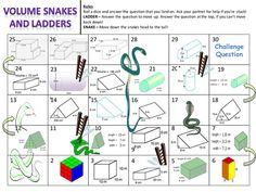 Volume of Prisms Snakes and Ladders great activity for revision