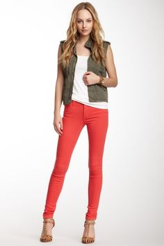 Skinny Jean by Joe's Jeans on @HauteLook  Outfit: White Tank Green Army Cutoff Vest Red Jeans