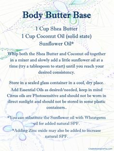 DIY Body Butter- great base recipe to build off of!