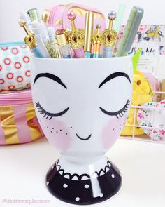 I'm so glad I picked up one of these pen cups! I'm crushing hard on her. by unicornplanner Ikea Desk, Pencil Holder, Desk Accessories, Filofax, House Painting, Makeup Brushes, Planners, Den, Target