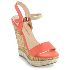 4c17ca8c115 Chase and Chloe Women s Lauren-2 Woven Sole Ankle Strap Wedges I Love My  Shoes
