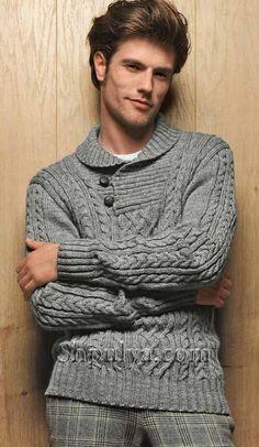 """Серый мужской пуловер с воротником """"шалька"""""""