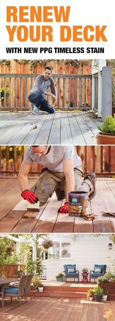 Renew your weather-beaten deck with a stain that will look great and stand up to the elements for years to come. It's new PPG Timeless Stain, a brand trusted by pros for over 100 years. Only at The Home Depot.