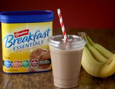 Chocolate Peanut Butter Banana Smoothie using Carnation Breakfast Essentials is a nutritious start to the day.