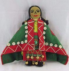 Native American Indian Button Blanket/Apron Doll, Artist Joyce Willie, Beadwork