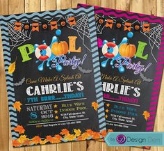 Fall Pool Party Invitations  Halloween Pool Party  Swim Party