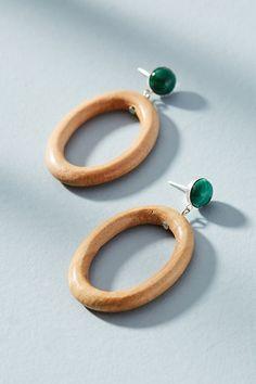 Slide View: 1: Malachite Hoop Drop Earrings