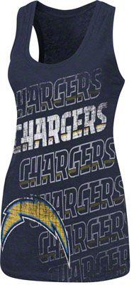 San Diego Chargers Blue Women's Play Time V Tri-Blend Tank