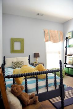I Love This Boyu0027s Bedroom  Lots Of Color A Mix Of Furniture Styles And The  Cutest Blue Spindle Bed!