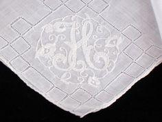 """HANKIE Wedding MADEIRA Embroidered MONOGRAM """"H"""" VINTAGE White"""