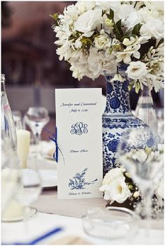 Calling it Home: Blue and White Wedding white flowers, centerpiec, blue white, blue and white vases, white weddings, white wedding flowers, accent decor, blue and white decor weddings, blues