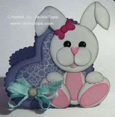 handmade Easter card ... punch art bunny with floppy ears ... heart shaped layered card base ... cute!!!