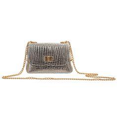 Zaccone Girls Silver Leather Shoulder Bag (14cm) at Childrensalon.com