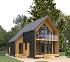 Small Modern House Plans, Modern Small House Design, Modern Barn House, A Frame House Plans, Barn House Plans, Minimal House Design, House Cladding, Casas The Sims 4, Weekend House