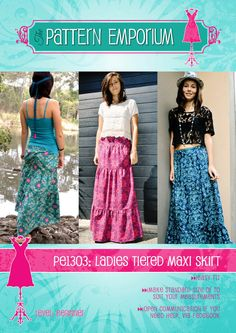 Ladies Tiered Maxi Skirt PDF Pattern & by MyPatternEmporium