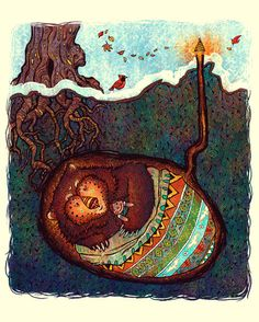 hibernation - love this illustration. doesn't this just tell a story! Art And Illustration, Bear Art, Conte, Street Art, Sculptures, Artsy, Creatures, Drawings, Artwork