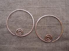 Copper hand hammered hoop earrings. Medium by ARTdesignsbyannart, $25.00