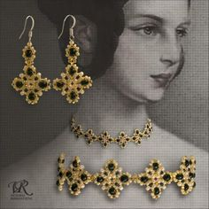 Victorian Gold Beaded Earrings and Necklace