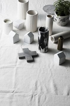 Zakkia white collection l Concrete house decor l Cross trivet l Marbled pot