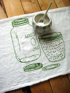 Screen Printed Organic Cotton Mason Jar Flour Sack Towel