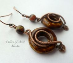 Wire wrapped earrings / copper earrings / wire wrapped jewelry handmade / copper jewelry / earthy jewelry / Blossom Agate and porcelain
