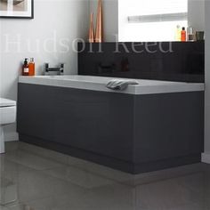 Hudson Reed High Gloss Grey Front Bath Panel - 5 Size Options