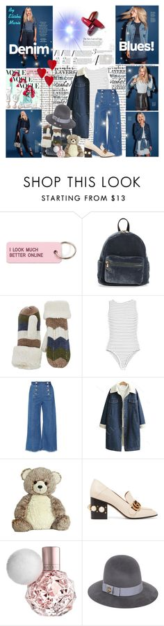 """""""DENIM BLUES! :)(:"""" by liliemc ❤ liked on Polyvore featuring Oris, Disney, Various Projects, BP., New Look, Steve J & Yoni P, Gucci and sundance"""