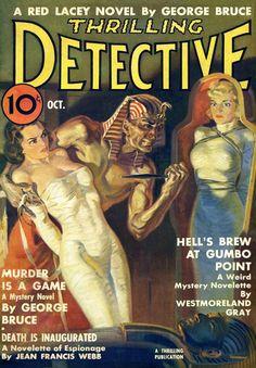 Thrilling Detective magazine pulp cover art, women woman dame girl captive hostage kidnap prisoner tied bound man pharaoh knife Egyptian Egypt tomb mummy danger