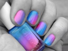Where do they sell this Essie color? - The Beauty Thesis nail color<br> Cotton candy swirl nails. Where do they sell this Essie color? Get Nails, Love Nails, How To Do Nails, Pretty Nails, Hair And Nails, Pink Nails, Gradient Nails, Blue Nail, Rainbow Nails