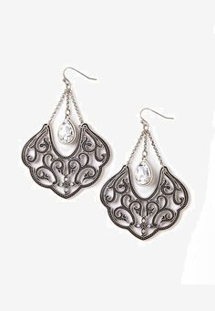 Silver Teardrop Filigree Drop Earrings