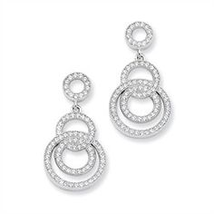 Sterling Silver & CZ Fancy Circle Dangle Post Earrings