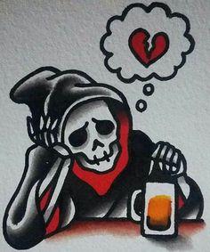 Tge dead is drowning its sorrow in beer tattoo idea. Tattoo Drawings, Body Art Tattoos, Sleeve Tattoos, Owl Tattoos, Animal Tattoos, Tatouage Goth, Dessin Old School, Grim Reaper Tattoo, Grim Reaper Art