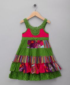 Green Collage Dress - Toddler & Girls by Just Too Cute on #zulilyUK today! Won't ship stateside :-(