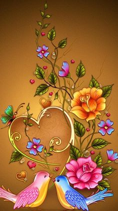 Bird Wallpaper Backgrounds Ideas For 2019 Flower Background Wallpaper, Flower Phone Wallpaper, Butterfly Wallpaper, Heart Wallpaper, Flower Backgrounds, Love Wallpaper, Colorful Wallpaper, Cellphone Wallpaper, Wallpaper Backgrounds
