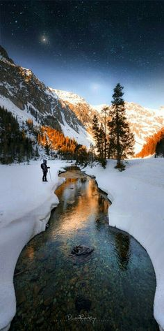 Cross Country Skiing Beautiful  Winter Scene