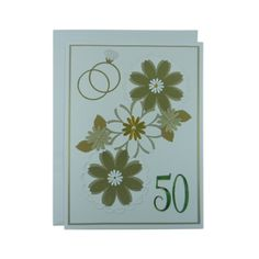 Large 50th Anniversary Card Handmade - Gold 50th Wedding Anniversary Handmade Greeting Card - 8.5 X 11.5 inches - Gold Floral Collage Card - Embellish by Jackie