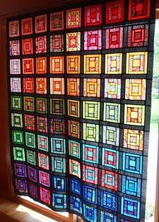 crayon box quilt looks like stained glass Stained Glass Quilt, Stained Glass Patterns, Stained Glass Windows, Quilted Curtains, Rainbow Quilt, Batik Quilts, Crayon Box, Square Quilt, Mosaic Glass