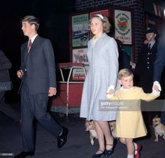 Prince Charles, Princess Anne and Prince Andrew at Euston Station in.